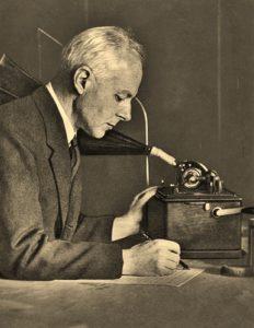 Bartok ranscribing folk music cylinders